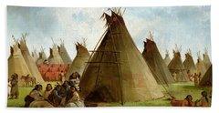 Prairie Indian Encampment Bath Towel