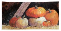 Pumpkins In Barn Hand Towel
