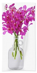 Purple Orchid In Bottle Hand Towel