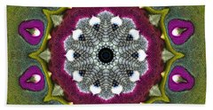 Purple Snakeskin Flower Bath Towel by Alec Drake