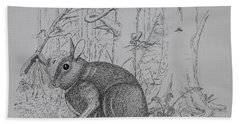 Rabbit In Woodland Bath Towel by Daniel Reed