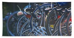 Racing Bikes Bath Towel by Sarah McKoy
