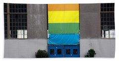 Hand Towel featuring the photograph Rainbow Banner Building by Kathleen Grace