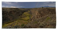 Rainbow Over The Rio Pueblo Hand Towel