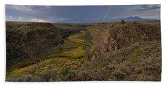 Rainbow Over The Rio Pueblo Bath Towel