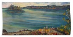 Bath Towel featuring the painting Rainy Lake Michigan by Julie Brugh Riffey