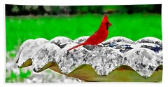 Red Bird In Bath Bath Towel