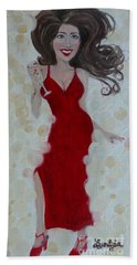Red Champagne Hand Towel
