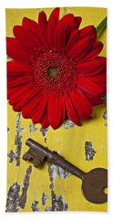 Red Daisy And Old Key Bath Towel