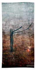 Hand Towel featuring the photograph Red Fox Under Tree by Dan Friend