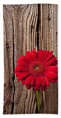 Red Gerbera Daisy With Wooden Wall Bath Towel