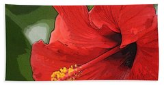 Red Hibiscus Bath Towel by Donna  Smith