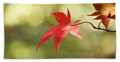 Red Leaf. Hand Towel by Clare Bambers