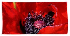 Red Poppy Close Up Hand Towel