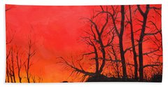 Hand Towel featuring the painting Red Sky  by Dan Whittemore