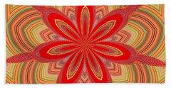 Red Star Brocade Bath Towel by Alec Drake
