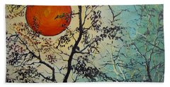 Hand Towel featuring the painting Red Sun A Red Moon by Dan Whittemore