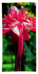 Red Torch Ginger Hand Towel by Jocelyn Kahawai
