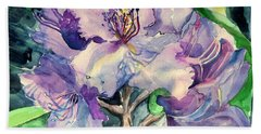Rhododendron Hand Towel by Mindy Newman