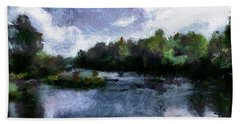 Bath Towel featuring the painting Rideau River View From A Bridge by Mario Carini