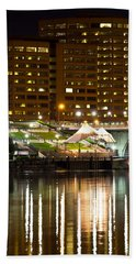 River Front At Night Hand Towel