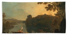 River Scene- Bathers And Cattle Bath Towel