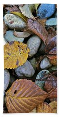 Bath Towel featuring the photograph Rocks And Leaves by Bill Owen