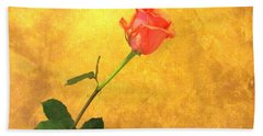 Bath Towel featuring the photograph Rose On Leather by Susan Carella