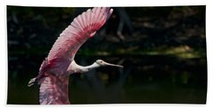 Hand Towel featuring the photograph Roseate Spoonbill by Steven Sparks