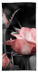 Roses In Pink And Gray Hand Towel