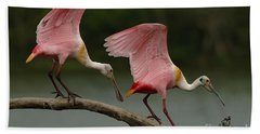 Rosiette Spoonbills Hand Towel by Bob Christopher