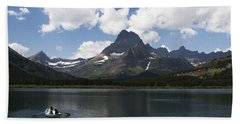 Rowboat At Many Glacier Hand Towel
