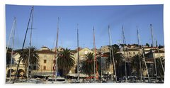 Sailboats Lined Up In Hvar Harbour Hand Towel