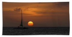 Hand Towel featuring the photograph Sailing Away by David Gleeson