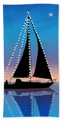 Sails At Sunset Silhouette With Xmas Lights  Bath Towel