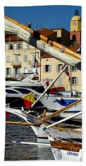 Saint Tropez Harbor Hand Towel by Lainie Wrightson