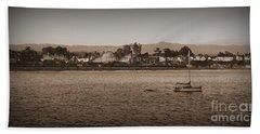 Hand Towel featuring the photograph Santa Cruz Boardwalk Sepia by Garnett  Jaeger