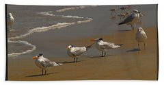 Sand And Sea Birds Hand Towel by Barbara Middleton