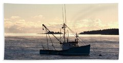 Sea-smoke On The Harbor Bath Towel by Brent L Ander