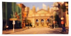 Bath Towel featuring the photograph Seaport Tiltshift by EricaMaxine  Price