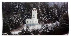 Sentinel Island Lighthouse In The Snow Hand Towel by Myrna Bradshaw