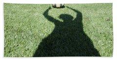 Shadow Playing Football Hand Towel