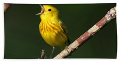 Singing Yellow Warbler Bath Towel