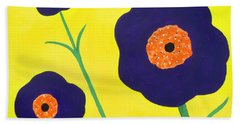 Bath Towel featuring the painting Sky High Flowers by Alys Caviness-Gober