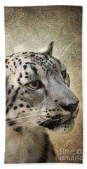 Snow Leopard Portrait Bath Towel by Jai Johnson