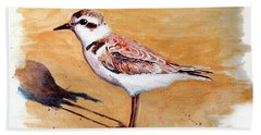 Hand Towel featuring the painting Snowy Plover by Chriss Pagani