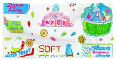 Bath Towel featuring the painting Soft Serve by Beth Saffer