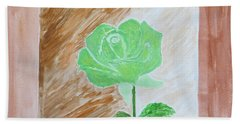 Hand Towel featuring the painting Solitary Rose by Sonali Gangane