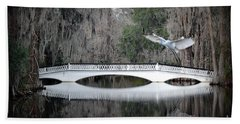 Hand Towel featuring the photograph Southern Plantation Flying Egret by Dan Friend