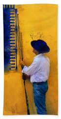 Bath Towel featuring the photograph Spanish Man At The Yellow Wall. Impressionism by Jenny Rainbow